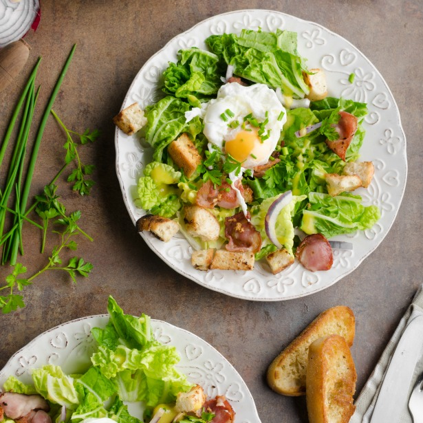 Frisée Salad With Poached Eggs And Maple Roasted Bacon | Sonoma ...